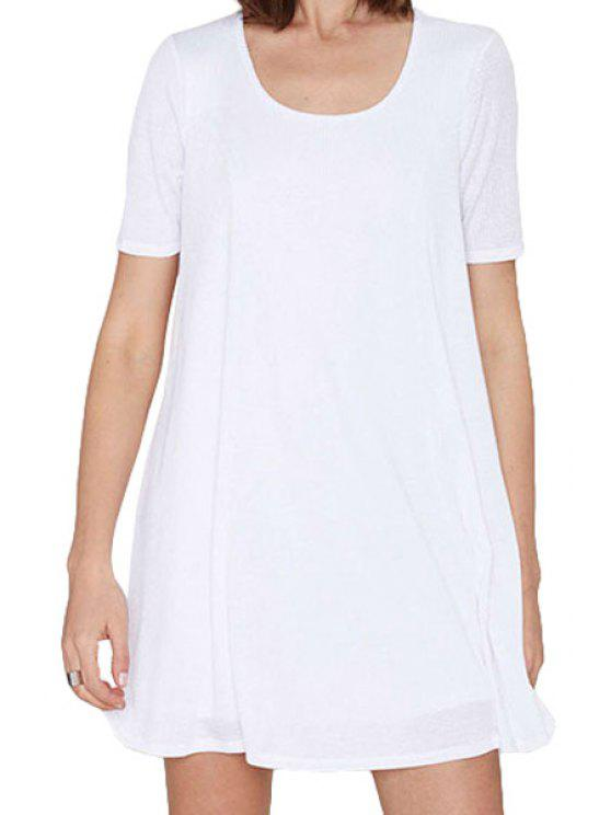 Blanc Scoop Neck robe à manches courtes - Blanc 2XL
