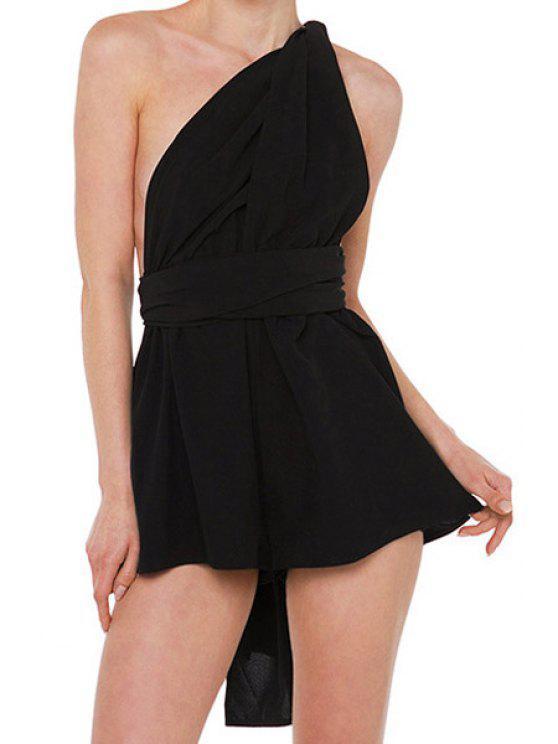 ladies Solid Color Loose-Fitting Romper - BLACK S