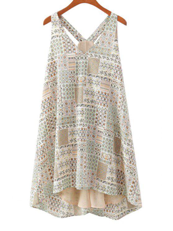 online Print Spliced V-Neck Sundress - BEIGE S