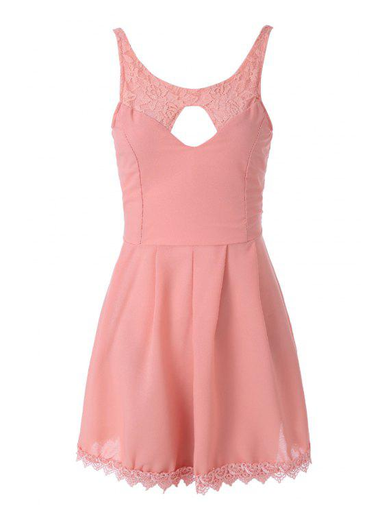 online Lace Spliced Sleeveless A-Line Dress - PINK M