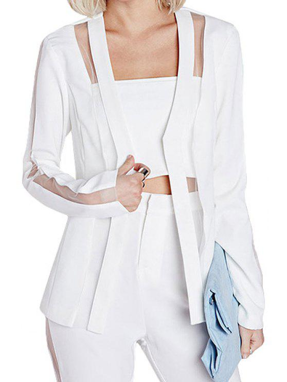 buy Solid Color Voile Splicing See-Through Blazer - WHITE M