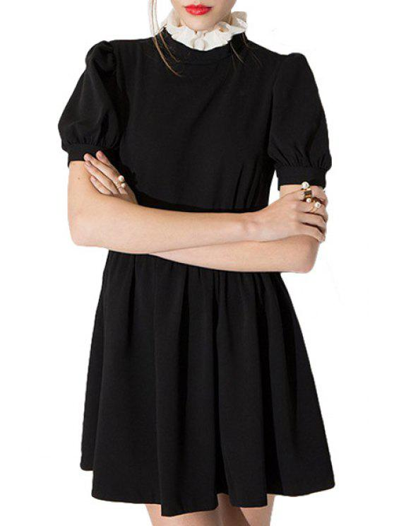 chic Ruff Collar Color Block A-Line Dress - BLACK S