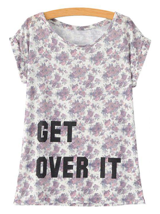 shop Letter Floral Print Short Sleeve T-Shirt - WHITE S