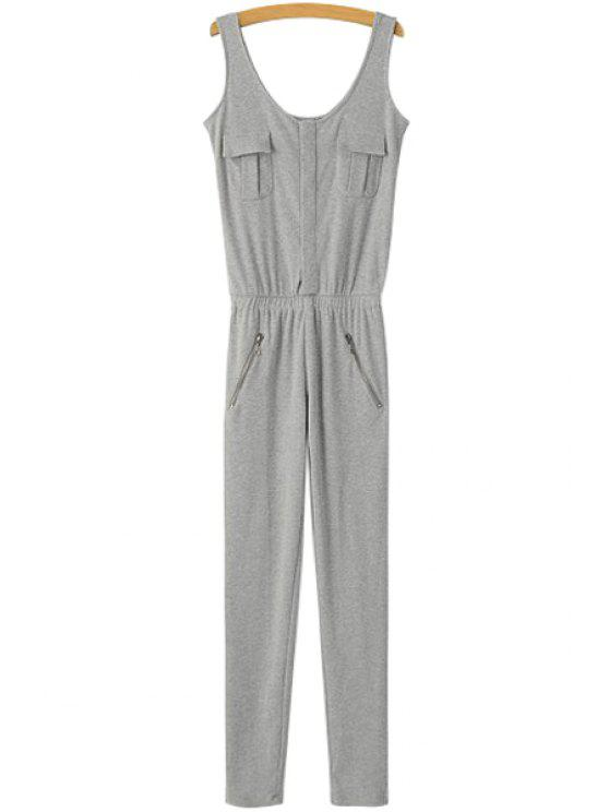 6bbfc5625a7 27% OFF  2019 Solid Color Sleeveless Slimming Jumpsuit In LIGHT GRAY ...