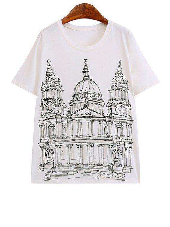 shops Castle Print Short Sleeve T-Shirt - WHITE S