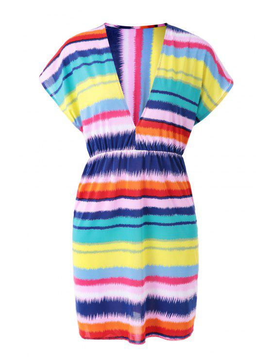 sale Colorful Striped Plunging Neck Dress - COLORMIX ONE SIZE(FIT SIZE XS TO M)