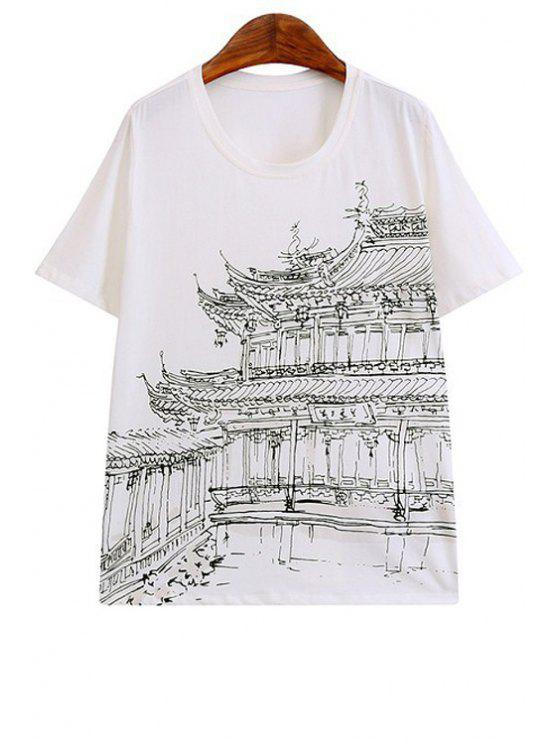 outfit Building Print Short Sleeve T-Shirt - WHITE S