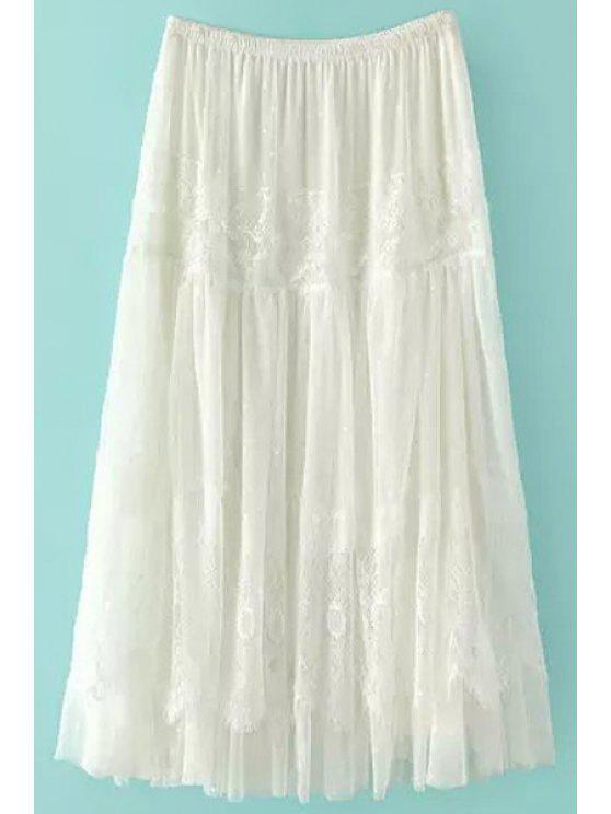 shops Solid Color Lace Elastic Waist Long Skirt - WHITE S
