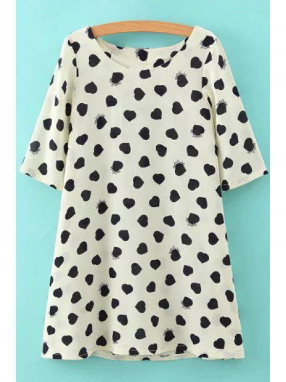 best Heart Print Bowknot Half Sleeve Dress - WHITE S