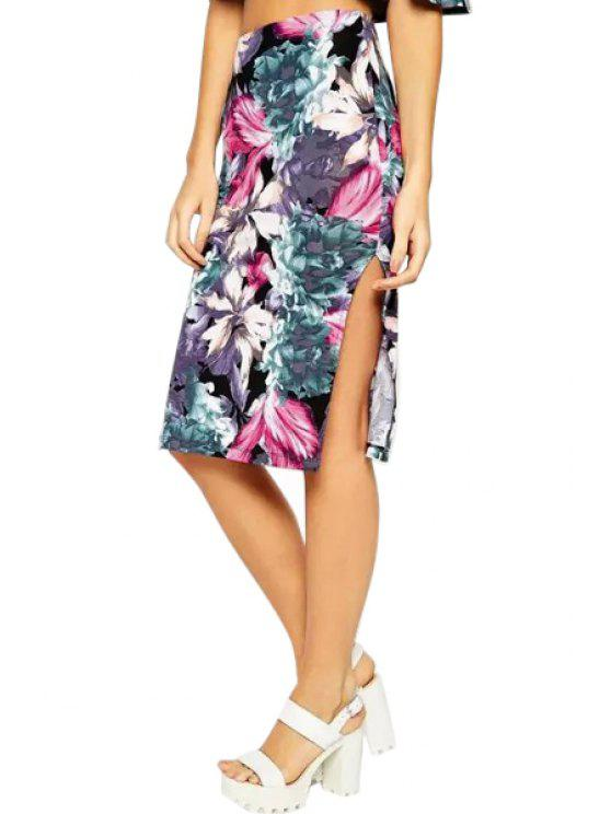 fashion Floral High Waisted Side Slit Skirt - PURPLISH BLUE S