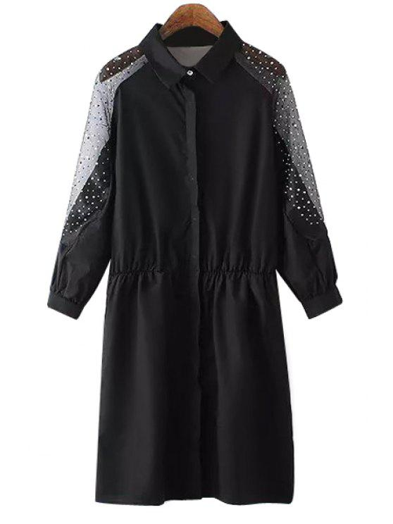 sale Voile Rhinestone Spliced Long Sleeve Shirt - BLACK S