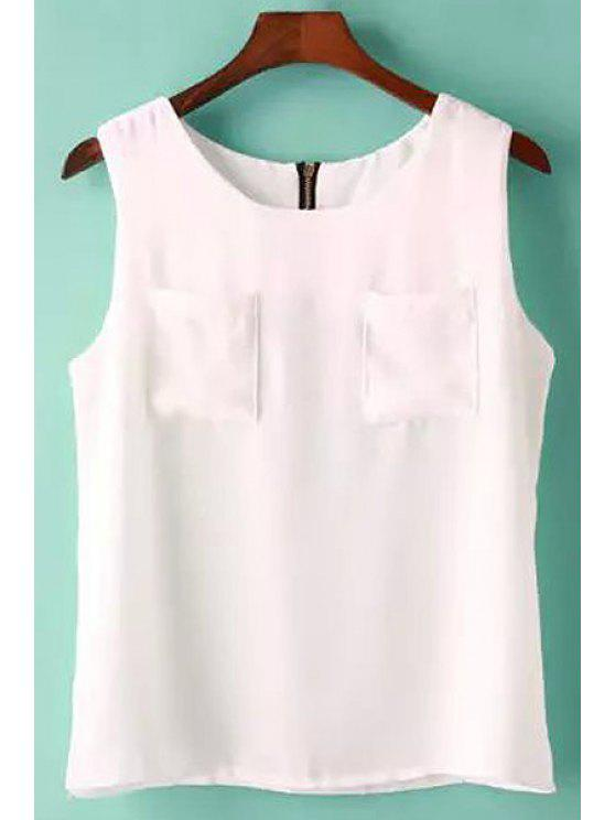 shop Solid Color Pockets Back Zipper Tank Top - WHITE ONE SIZE(FIT SIZE XS TO M)