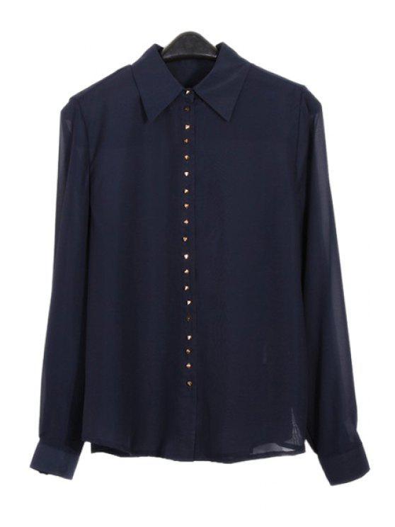 online Solid Color Rivet Buttons Long Sleeve Shirt - PURPLISH BLUE L