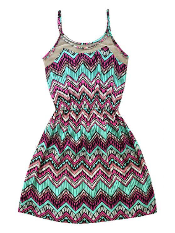 outfits Zig Zag Print Spaghetti Straps Dress - TURQUOISE S