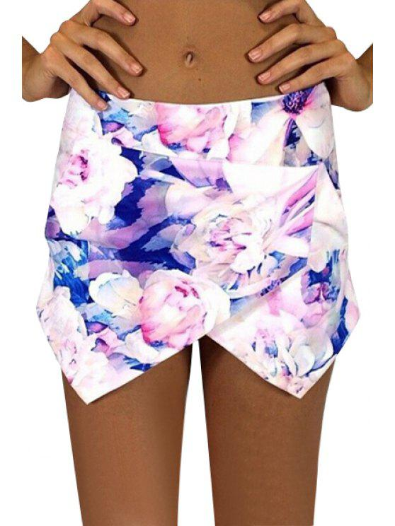 lady Floral Irregular Hem Mini Skirt - PURPLISH BLUE S