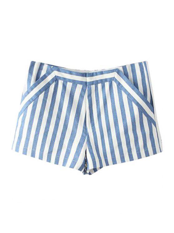 shop White Blue Stripe Shorts - BLUE AND WHITE S