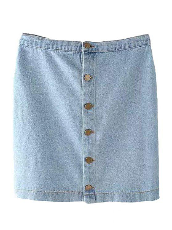 latest Bleach Wash Single-Breasted Denim Skirt - LIGHT BLUE L