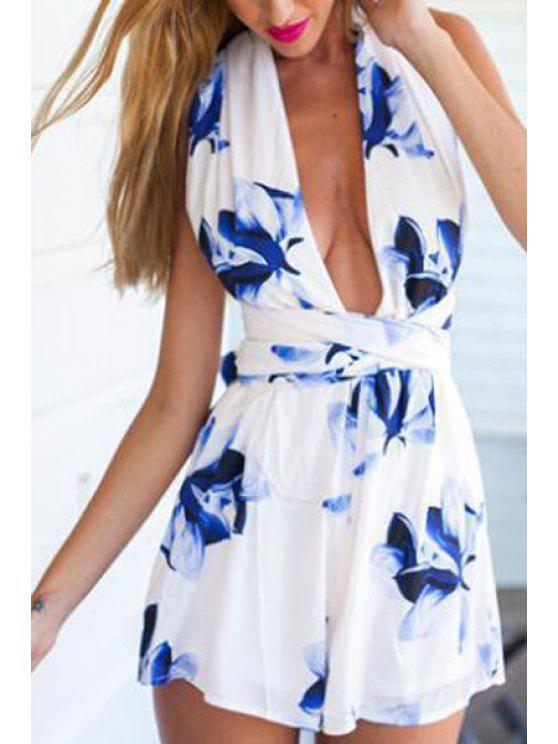 unique Blue Floral Sleeveless Romper - PURPLISH BLUE S