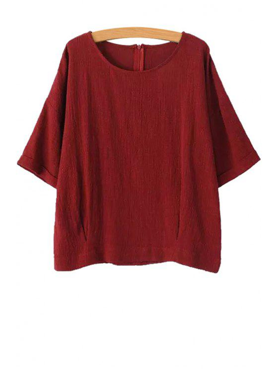 shop Jewel Neck Solid Color Half Sleeve T-Shirt - RED S