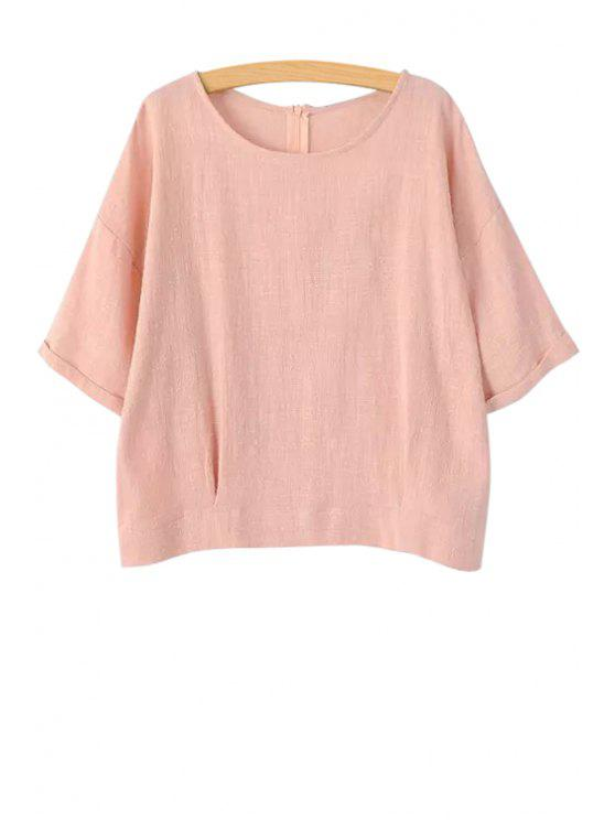 chic Jewel Neck Solid Color Half Sleeve T-Shirt - PINK L