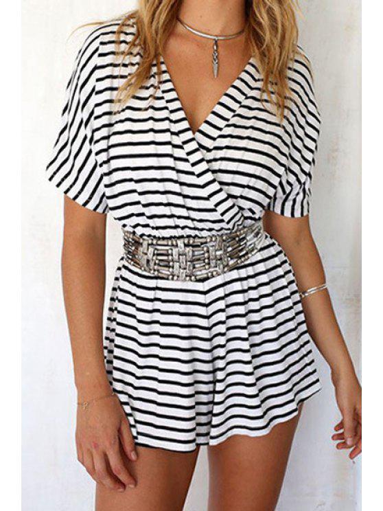 fancy V-Neck Stripe Short Sleeve Romper - WHITE L