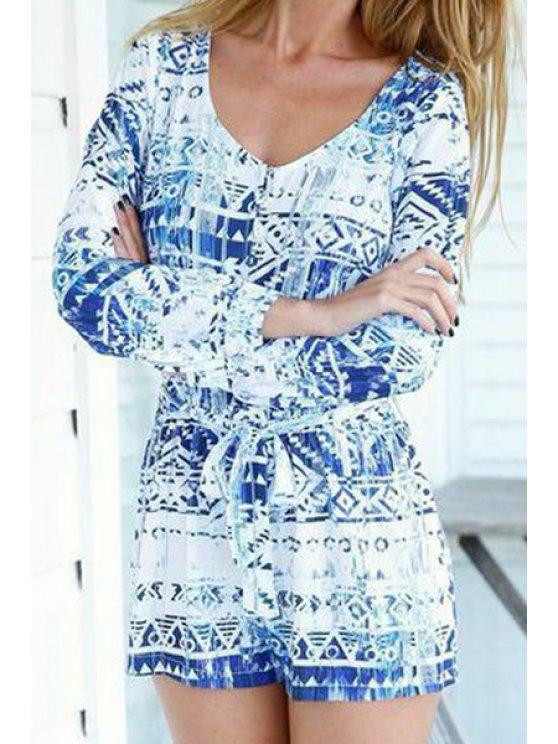 chic Print Long Sleeve V-Neck Romper - BLUE S