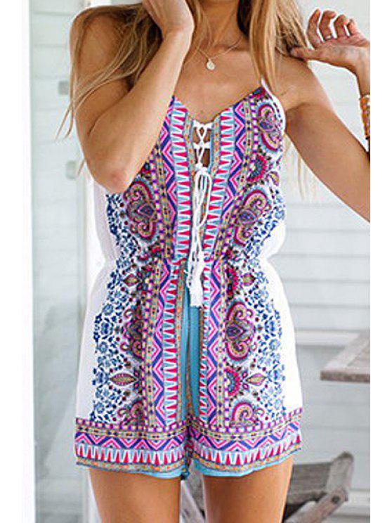 outfit Retro Print Spaghetti Strap Romper - DEEP BLUE S