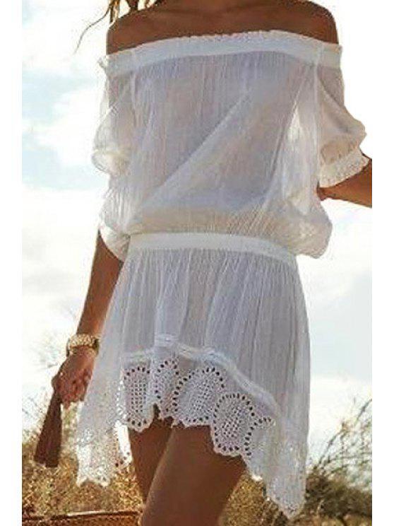 affordable Slash Neck Openwork Solid Color Asymmetrical Dress - WHITE S