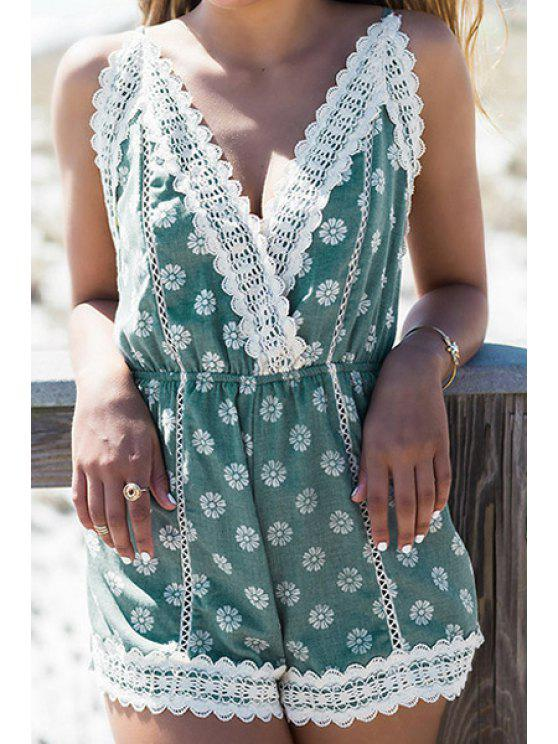 buy Lace Splicing Floral Print Backless Romper - WHITE AND GREEN M