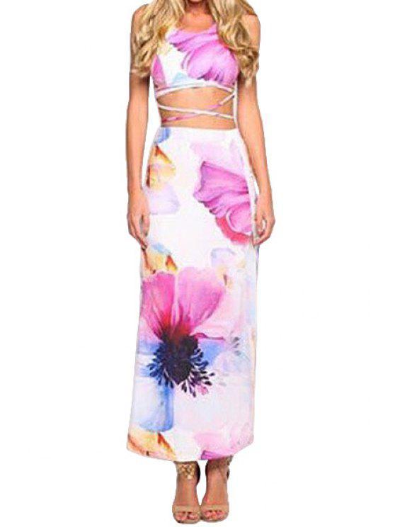 lady Spaghetti Strap Cross Tank Top + Floral Print Long Skirt - WHITE M