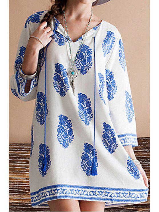 shop Blue Leaves Print 3/4 Sleeve Dress - BLUE AND WHITE S