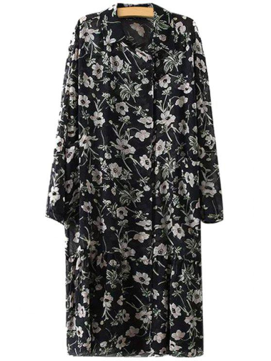 affordable Full Floral Long Sleeve Chiffon Dress - BLACK M