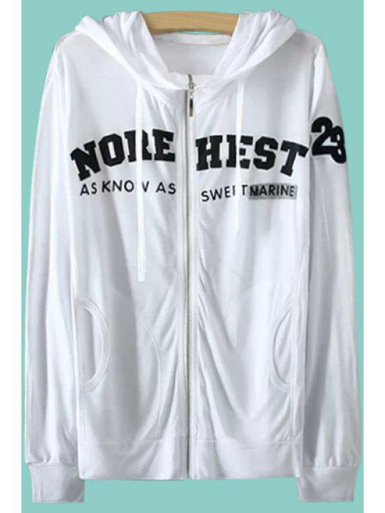 hot Hooded Long Sleeve Letter Pattern Coat - WHITE M