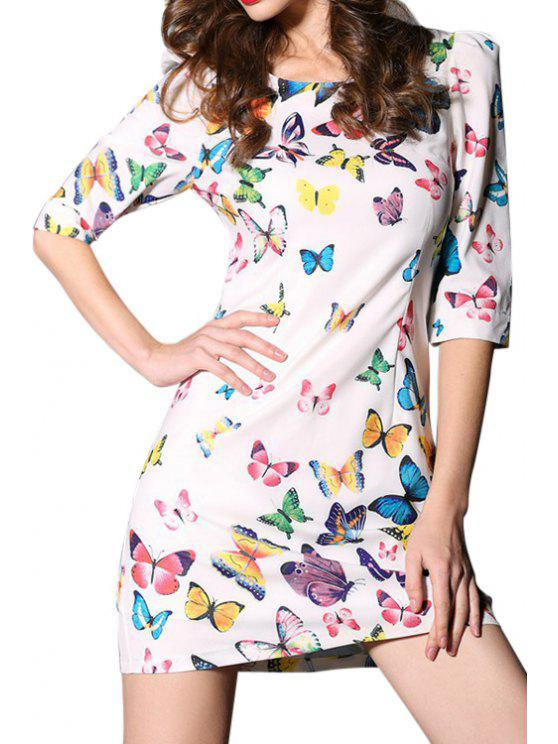 buy Colorful Butterfly Print Half Sleeve Dress - WHITE S