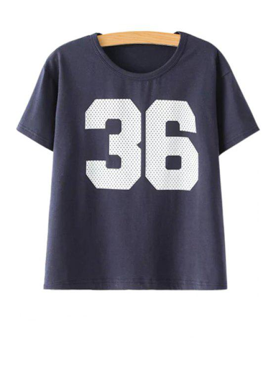 outfits Number Pattern Short Sleeve T-Shirt - CADETBLUE ONE SIZE(FIT SIZE XS TO M)