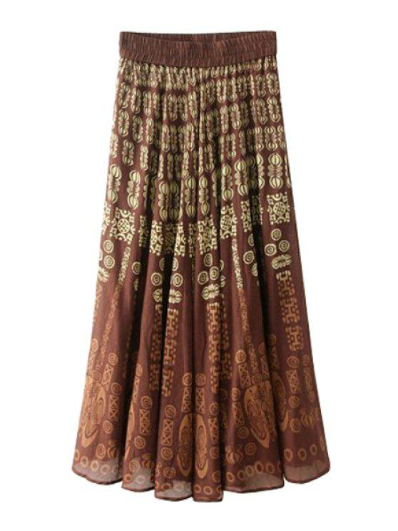 outfits Totem Print Elasitic Waist Long Skirt - DARK AUBURN ONE SIZE(FIT SIZE XS TO M)