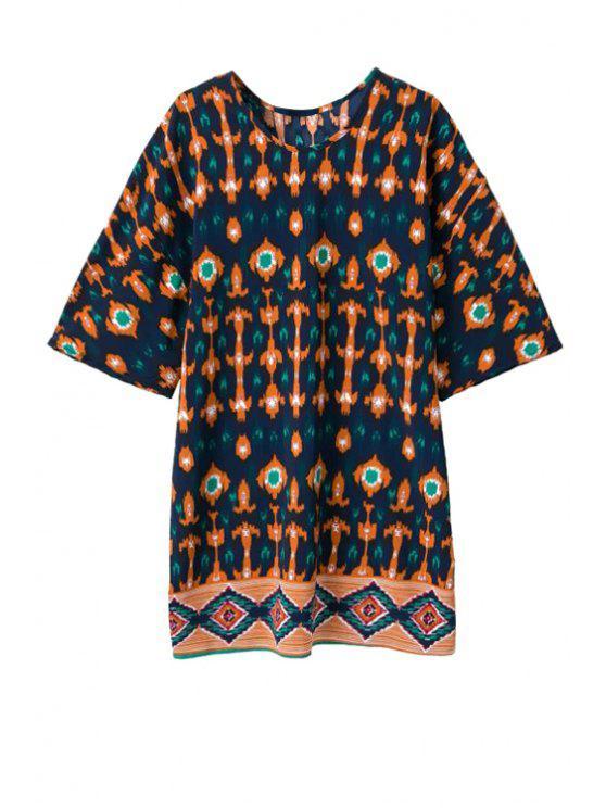 trendy Argyle Print Color Block Half Sleeve Dress - COLORMIX S