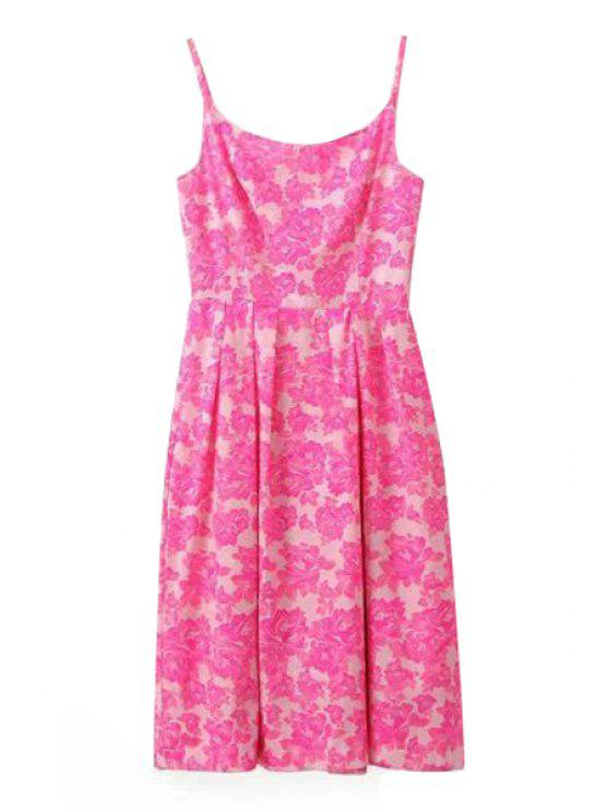 fancy Spaghetti Strap Pink Floral Print Sleeveless Dress - PINK S