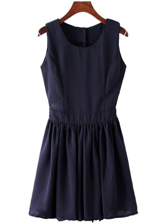 latest Solid Color A-Line Backless Sundress - PURPLISH BLUE M