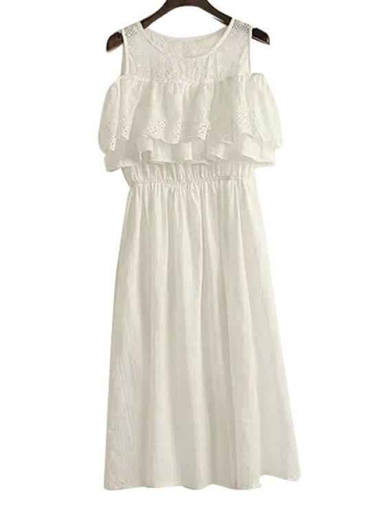 fancy Off-The-Shoulder Ruffles Embroidery Dress - WHITE ONE SIZE(FIT SIZE XS TO M)