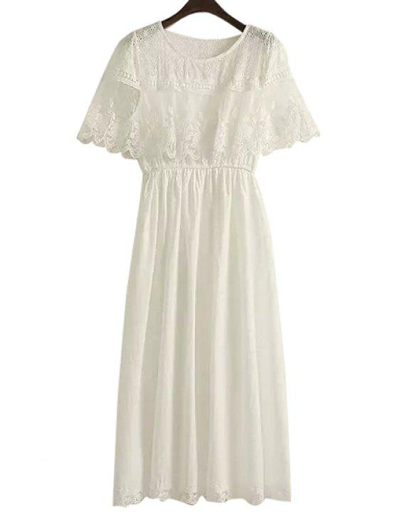 lady White Embroidery Hollow Dress - WHITE ONE SIZE(FIT SIZE XS TO M)