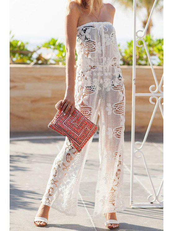 hot Strapless Floral Pattern Openwork Lace Jumpsuit - WHITE M