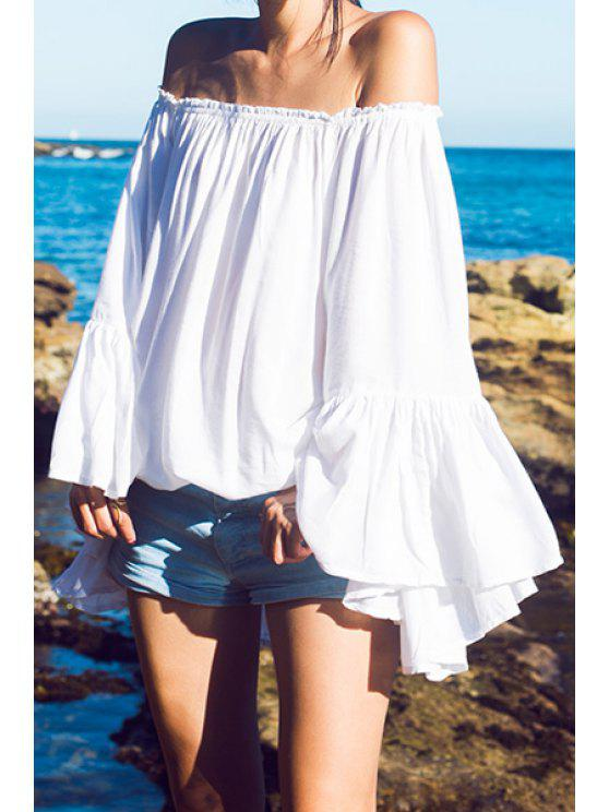 trendy Slash Neck Solid Color Loose-Fitting Blouse - WHITE XL