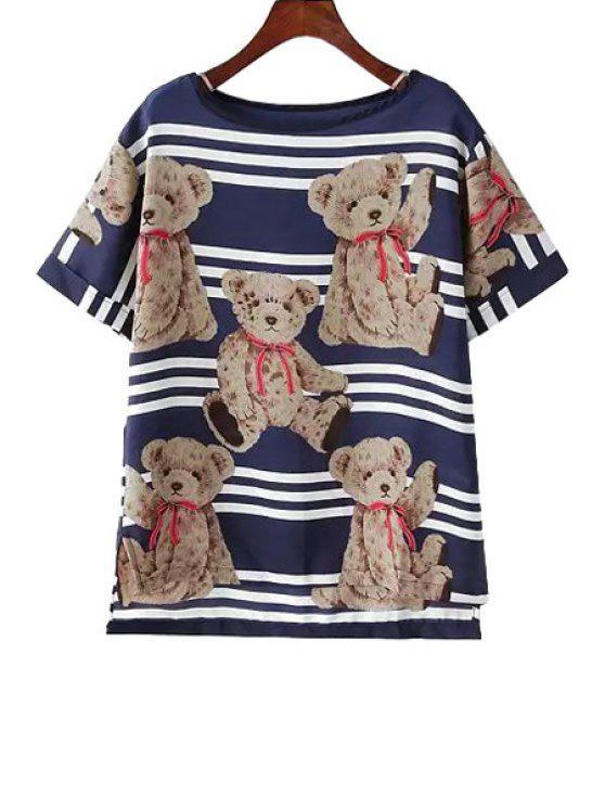 fashion Bear Print Stripe Short Sleeve T-Shirt - BLUE S