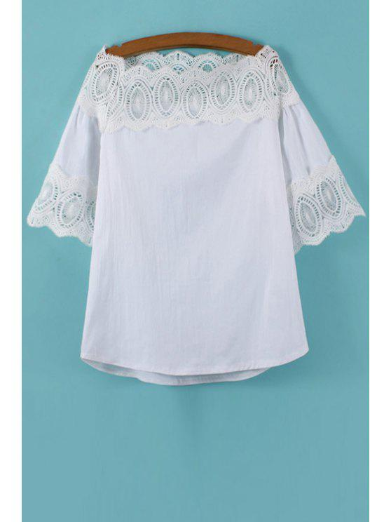 chic White Half Sleeve with Lace Blouse - WHITE ONE SIZE(FIT SIZE XS TO M)