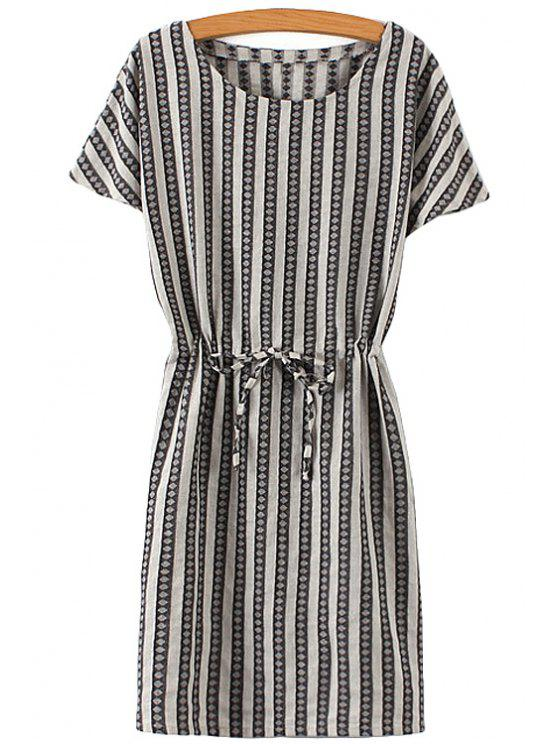 best Argyle Striped Print Short Sleeve Dress - BLACK ONE SIZE(FIT SIZE XS TO M)