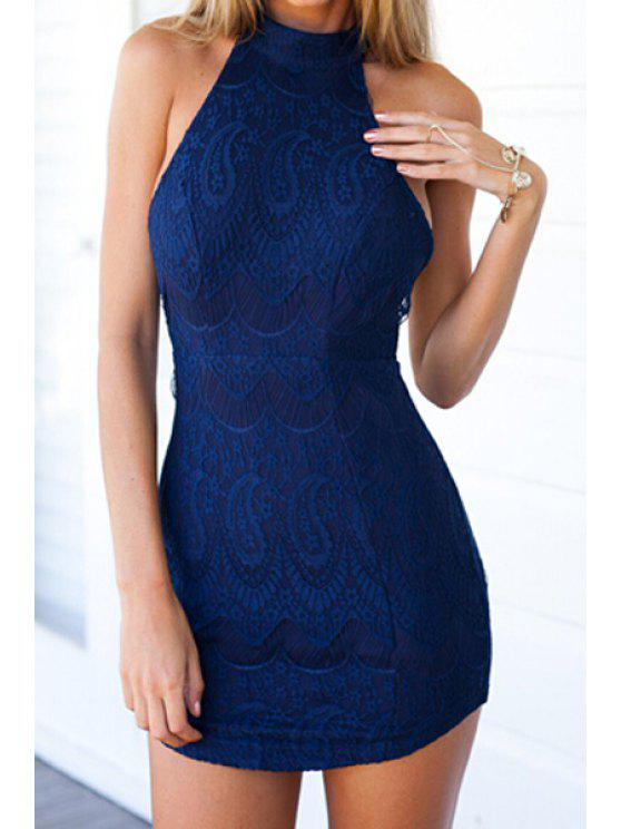 unique Halter Neck Solid Color Lace Backless Dress - PURPLISH BLUE S