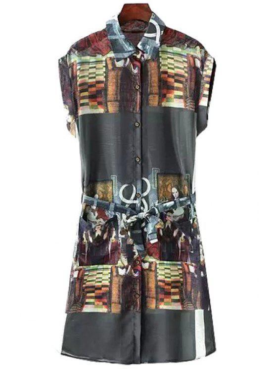 sale Figure Print Shirt Neck Dress - BLACK ONE SIZE(FIT SIZE XS TO M)