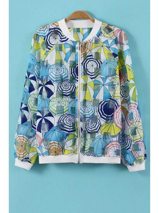 trendy Stand-Up Collar Umbrella Print Coat - COLORMIX S