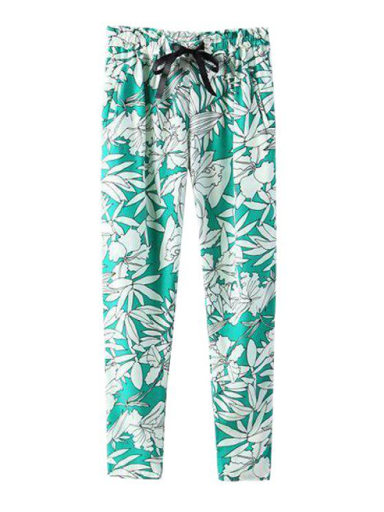lady White Floral Print Tie-Up Pants - GREEN S